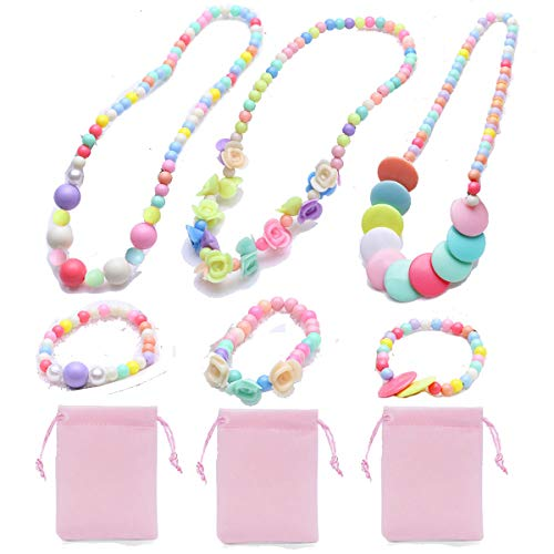 7Queen Princess Pretend Play Necklace Bracelet Set Kit Kids Play Jewelry Little Girls Costume Necklaces Toddler Dress up Jewelry 3 Sets Xmas Gift