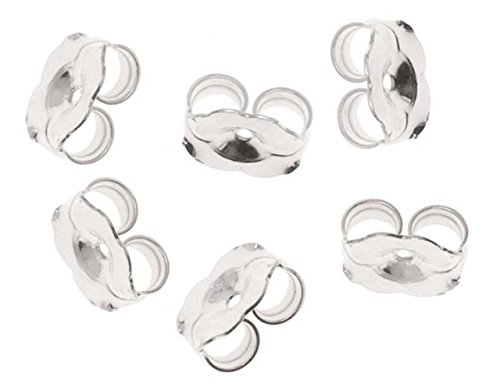 Cutesmile Fashion Jewelry 14K Gold/White Gold Earring Backs - 6 Pieces Replacement Earring Backs (White Gold)