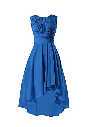 CLLA dress Damen Chiffon Spitze Abendkleider High Low Partykleider Festkleider Ballkleider Brautjungfer Kleider(Blau,42)