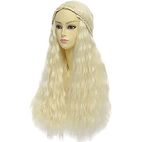 Price comparison product image Anogol Hair+Cap Blonde Braided Wig Blonde Cosplay Wig Synthetic Wig for Girls Long Blonde Wig for Cosplay Costume Wig for Halloween