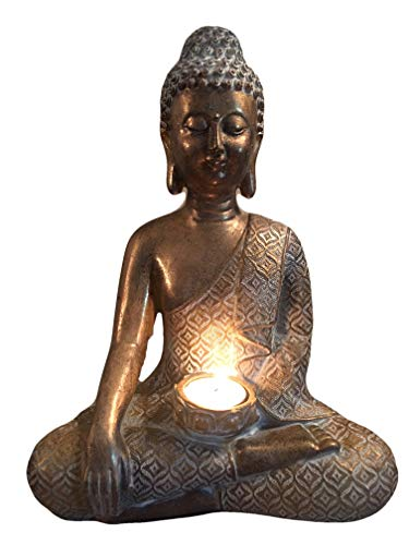 Buddha Statue Candle Holder, 12' Tall Meditating Buddha with Patina Gold Finish