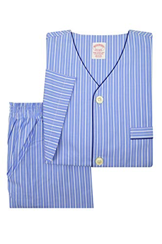 Brooks Brothers Mens 90392 All Cotton Short Sleeve Button Down Pajama Shirt and Shorts Set Light Blue Striped (L)