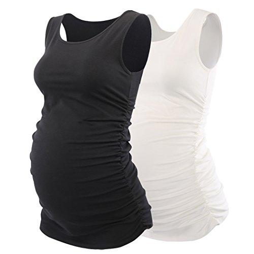 ZUMIY Maternity Top, Gravidanza Top Cotone Rotondo Donna Avvolto in Vita Camomilla maternità Camicia
