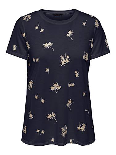 ONLY Damen ONYIBBI S/S AOP TOP JRS T-Shirt, Night Sky, L