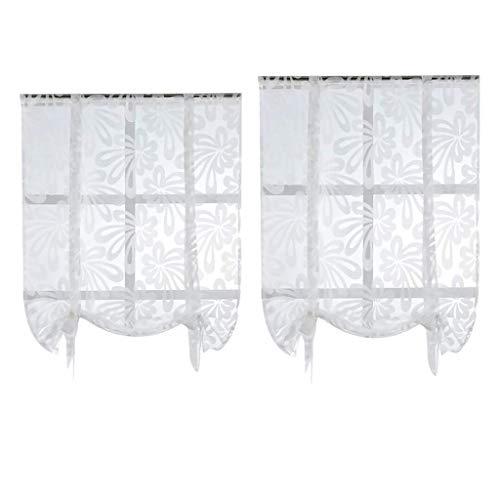 Tubayia Juego de 2 estores, cortinas de gasa para ventana, para cocina,...