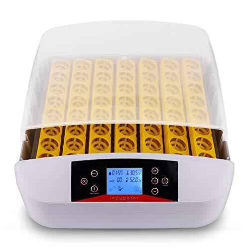 56 Eier Inkubator Brutmaschine Vollautomatisch Brutapparat Brutkasten für Hühner, Brutkasten mit LED Temperaturanzeige und Feuchtigkeitsregulierung(56 Eier/LED)
