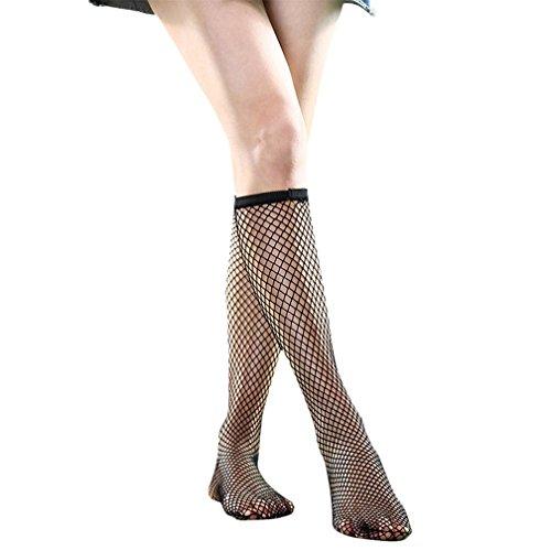 Amorar Damen Netzsocken Mesh Netzstrümpfe Kniestrümpfe Schwarz Socken Fischnetz Knee High Socks,Mitte Grid,EINWEG Verpackung