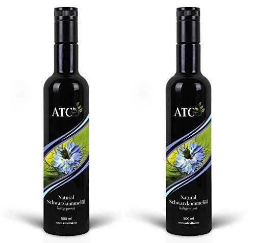 ATC Vital Schwarzkümmelöl - kaltgepresstes Öl aus echter Nigella Sativa Saat – milder Geschmack - naturrein - ohne Zusatzstoffe – nur echt im Violettglas 1000ml - 1l (2 x 500 ml))