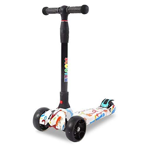 JSZHBC Ciudad Moto for niños Adolescente Fácil Plegable portátil Ultraligero Suave y rápido Paseo Altura Ajustable no eléctricos Scooter clásico (Color : White)