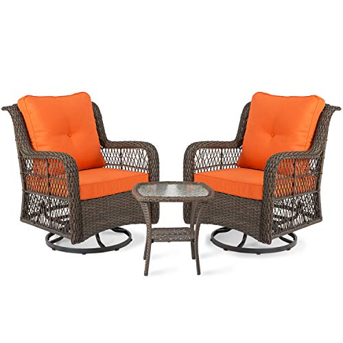Aoxun 3-Piece Rocking Rattan Chair Outdoor, Patio Bistro Furniture Sets Clearance, 2 Cushioned Swivel Wicker Chair with Coffee Table, Orange