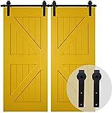 CCJH 243CM/8FT Herraje Para Puerta Corredera Kit de granero Accesorio de armario con rodillo de riel para puerta doble