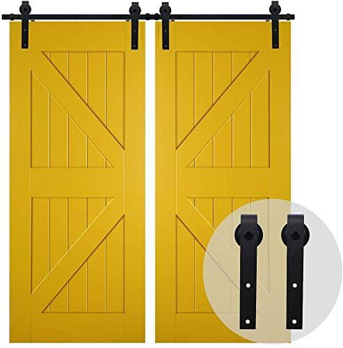 8FT/246cm Acciaio Binario per Porta Scorrevole Doppia Anta Kit per Porte Scorrevoli Accessori in Stile Rustico Legno, Nero