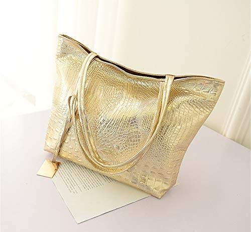 youfenghui Handbag Tote Bag, Crocodile Pattern Shoulder Bag Luxurious Pu Leather Bags for Ladies, Large Top Handle Bags for Women Ladies (Golden)