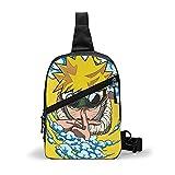Naruto Anime Bolsa de pecho Slung Mochila multifuncional de gran capacidad para hombres y mujeres de moda de un solo hombro mochila Slung Travel Trekking Tetro