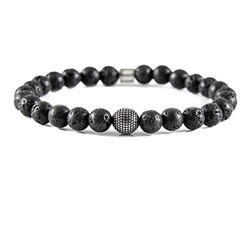 David Galvani   Herren Männer Armband Perlenarmband Chakra Schwarz Lavastein Kugeln Edelstahl Perlen Armreif Armkette (20)