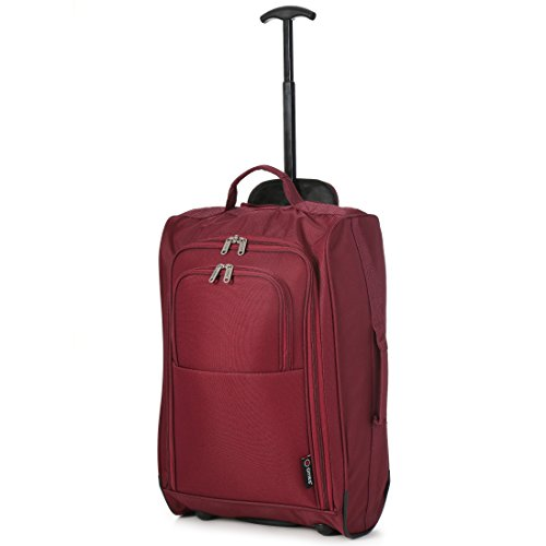5 Cities Lightweight Hand Luggage Travel Holdall Baggage Wheely Suitcase Cabin Approved Bag (Wine)