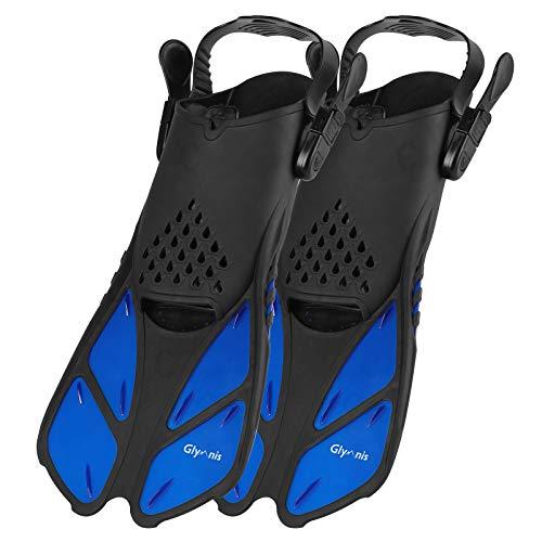 Glymnis Schnorchelflossen Verstellbare Flossen Schwimmflossen für Erwachsene und Kinder Kurze Tauchflossen zum Tauchen Schwimmen Schnorcheln (Schwarz/Blau, ML/XL)