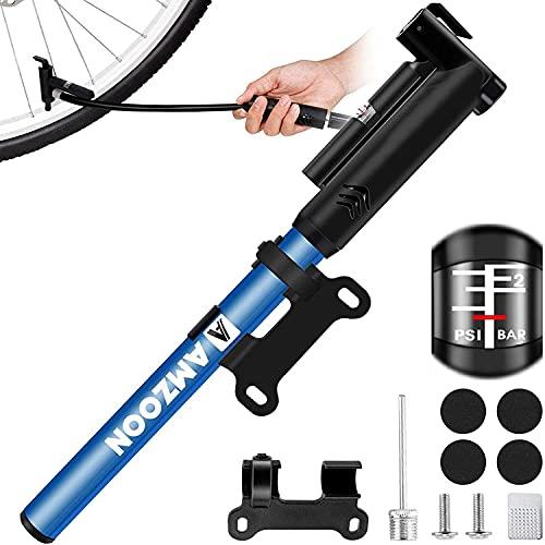 AMZOON Mini Bomba para Bicicleta Inflador Bici válvulas Presta y Schrader 120psi Bomba de Aire para Bicicleta Hinchador Bici MTB Accesorios Kit Antipinchazos