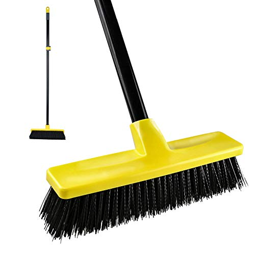 """Push Broom Outdoor Indoor Broom 12"""" Wide [Upgrade Extension Pole],59"""" Long Handle with Stiff Bristles for Cleaning Scrubbing Deck Driveway Yard Patio Wood Stone Tile Floor"""