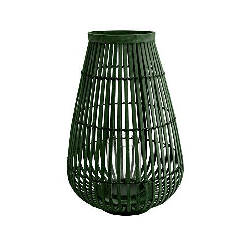 connox Collection Bambus-Rattan-Windlicht geeignet als Deko für Wohnung, Garten, Terrasse und Balkon. Große Bambus Laterne mit Kerzen-Glas 45 cm, olivgrün