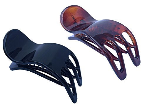 Parcelona French Simply Bear Cub Paw Set of 2 Tortoise Shell and Black Celluloid Medium Side Slide In Jaw Yoga Hair Claws Clips