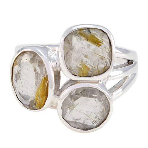 joyas plata schöner edelstein dreisteiniger facettierter rutilquarz ring - 925er silber gelber rutilquarz ring - August geburt leo astrologie schöner edelstein ring