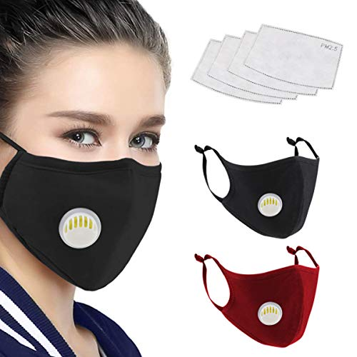 LiteBee Unisex Cotton Mask with Breath Valves, 2pcs Washable Reusable Cloth Mask Face Mask, 4pcs Activated Carbon Pm 2.5 Tablets for Outdoor Activities