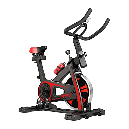 Bicicleta estática, entrenamiento doméstico para interiores, ajuste de resistencia sin niveles con pulsómetro, gran volante de inercia de hasta 150 kg, color negro