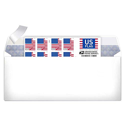 10# Business Envelope Additional 2018 Forever Postage Mailing Stamp (1 Booklet of 20 Stamps)