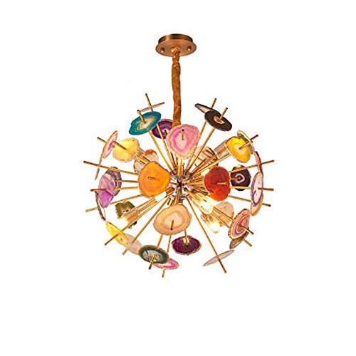 GYPPG Lámpara de araña Redonda de Piedra de ágata Natural, lámpara Colgante de Cobre de Globo de Lujo de 24 Luces Lámpara de Techo Colgante de Piedra de ágata Colorida Starburst G9