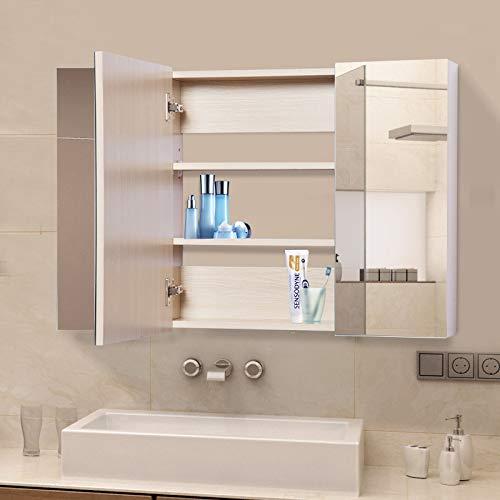 kleankin Armadietto Medicinali da Bagno a Parete con Specchio a 3 Ante e Ripiani Regolabili in Legno 90x60x13.5cm
