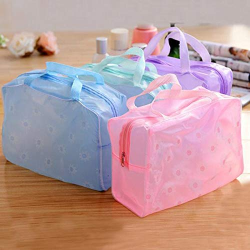Bag Lift - 1 stuks Floral Print Zipper Transparant Waterproof Cosmetic Toilettas Travel Bath Wash Hand - Lifter Lift Bags Lenovo Urban Storage Bags Pouch Make Clear Small Drawstring Purse T paars