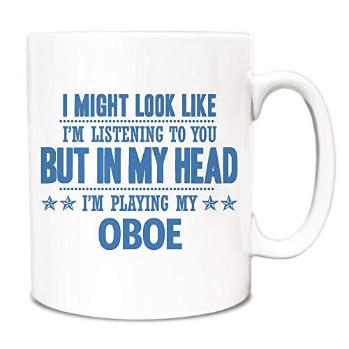 Theemok, witte keramische mok koffiemok Sky Blue kan eruit zien als ik luister, maar in mijn hoofd speel ik mijn hobo 11 Ounces