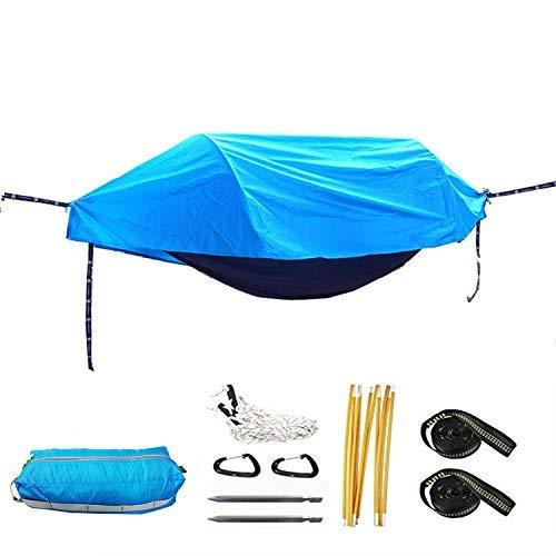 Multifuncional Ultralight Parachuco Hammock Tienda Aérea Portátil Al Aire Libre Camping 270X140Cm Regalos para Excursionistas Silla perezosa Gymqian/Azul
