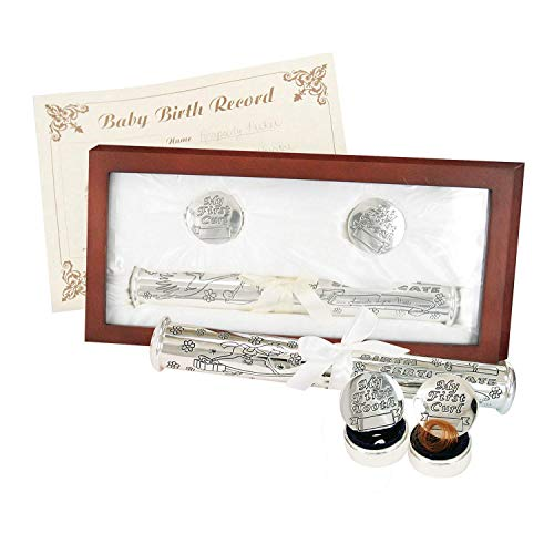 Stephan Baby Satin-Lined Rosewood Keepsake Box with Silver Plated Birth Certificate Holder, First Tooth and First Curl Boxes
