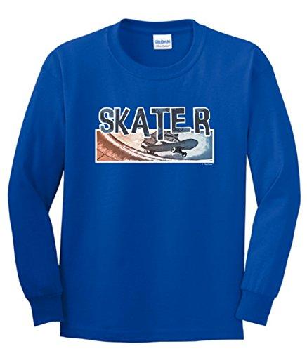 Skateboarding Shirt for Girls Youth Skateboarding Shirt Skater Youth Long Sleeve T-Shirt Small Royal