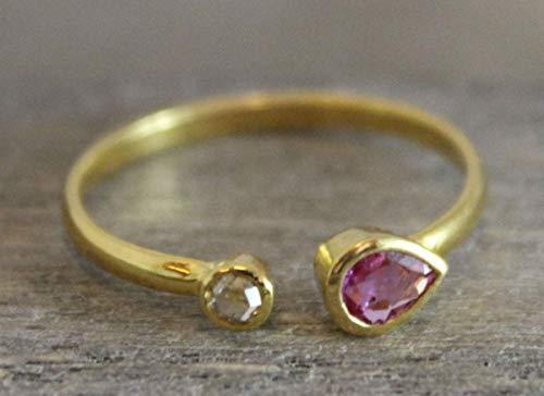 Rosa Turmalin und Diamant 18 Karat Gelbgold Ringe Größe US Size 7 / Diameter 17.3 (norway)