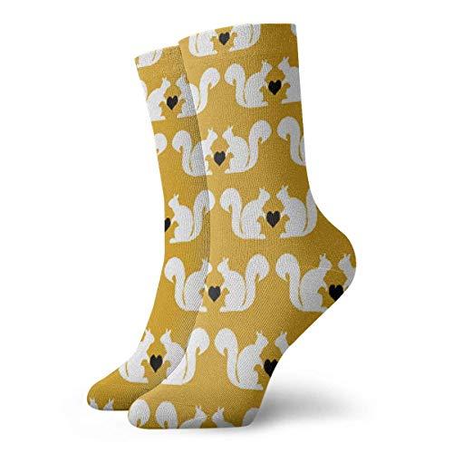 Jxrodekz Liebende Eichhörnchen Crew Socken lustige Neuheit dünne lässige Sport Comfort Work 11,8
