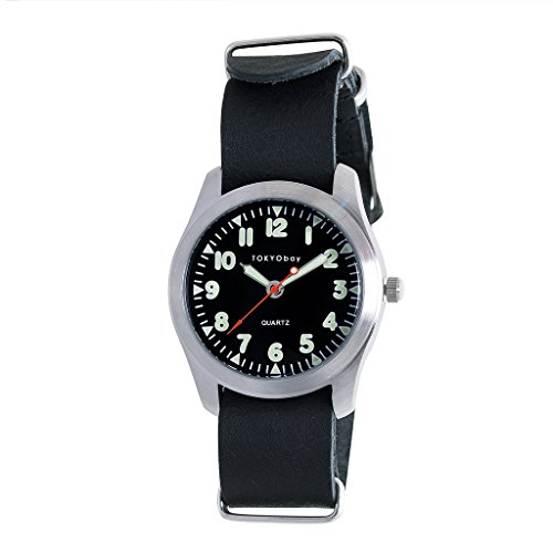 Tokyobay Basic Leather Watch, Black w/Black