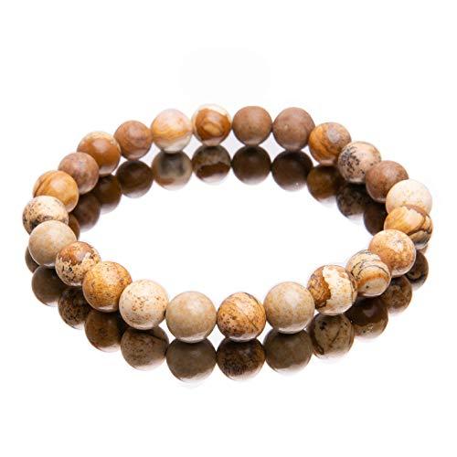 Pulseras de cuentas de energía,pulseras de cuentas de energía de cristal de crisocola natural,pulseras de piedras preciosas naturales,joyería para mujeres,hombres,niñas,regalos (2PCS)