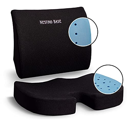 Black Seat Cushion for Office Chair and Lumbar Support Pillow. The Perfect Gel Infused Chair Cushion for Home Office, Truck Drivers and More. Ergonomic Design for Tailbone, Coccyx and Back Pain