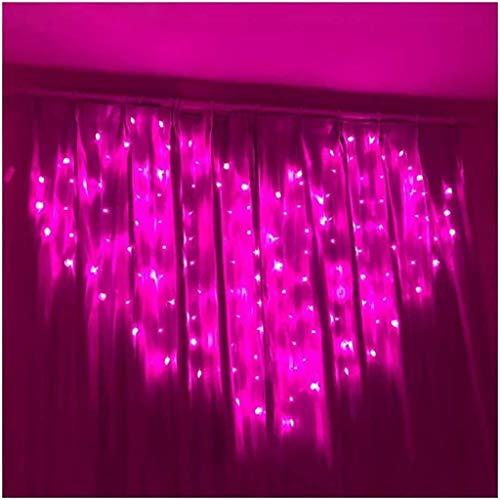 ZBM-ZBM Led-raamgordijn met lampjes, warmwit, hartvormige hanger, werkt op batterijen of USB-poort voor feestkamer, bruiloft, evenementen [batterijen niet inbegrepen] licht