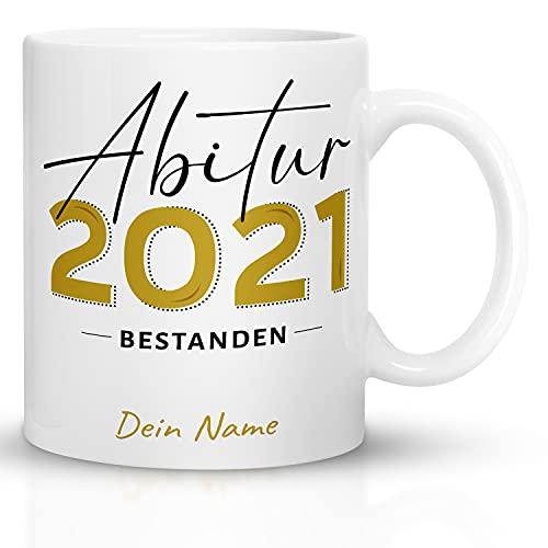 Kaffeebecher24 - Tasse Abitur 2021 Personalisiert - Spülmaschinenfest - Geschenke für das bestandene Abitur - Tasse lustig mit Spruch + Mit Name +