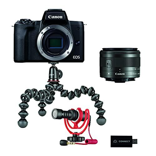 Canon EOS M50 Mark II Streaming Kit Kamera + Objektiv EF-M 15-45mm F3.5-5.6 IS STM + Røde Mikrofon + Joby Gorillapod 1K Stativ + Atomos Connect 4K Video Stream (24,1 MP, Touch LCD) schwarz