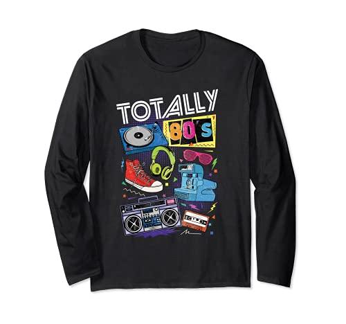 Divertida camiseta retro de los 80 para regalo de fiesta, casete giratorio Manga Larga