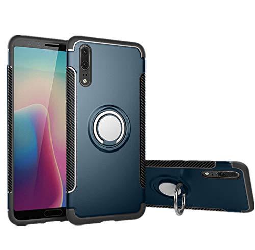 stengh Funda Huawei P20 EML-AL00 EML-TL00 EML-L29 EML-L29C EML-L09 EML-L09C Case Cover + 360 Degree Rotating Ring Holder Kickstand Azure