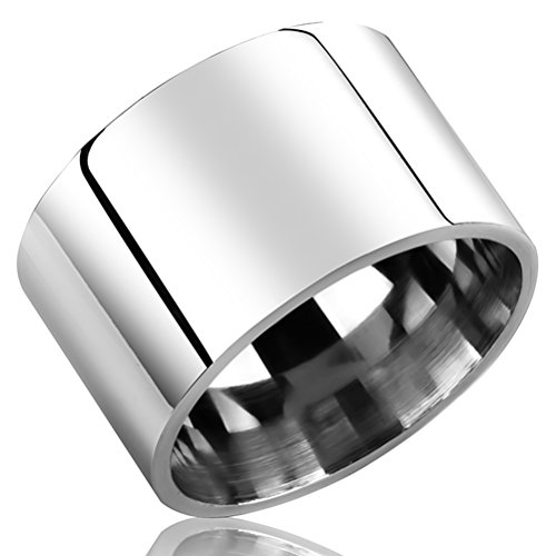 Fashion Month Mens Womens 14mm Wide Silver Stainless Steel Ring Cool Wedding Engagement Band High Polished Comfort Fit Size 10