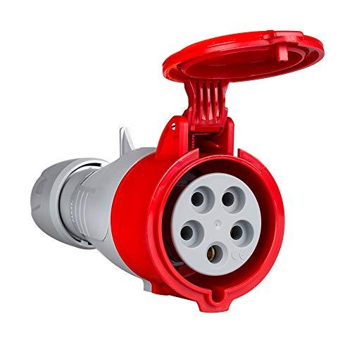Base aérea con apriete del cable y cierre sin herramientas color rojo 380/415V 3P+N+T 16 A (Legrand 555109)
