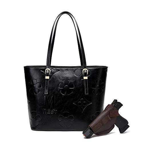Montana West Large Leather Tote Bags for Women Cute Concealed Carry Shoulder Bags Handbags MWC-018BK