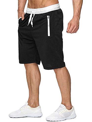 Newbby Mens Elastic Waist Drawstring Joggers Sweat Short Pants Summer Workout Shorts with Zipper Pockets (XL, Black Mens Shorts)